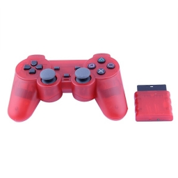 JOYSTICK INALAMBRICO PLAYSTATION 2 COMPATIBLE ROJO TRANSPARENTE