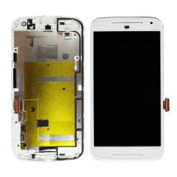 PANTALLA LCD DISPLAY CON TOUCH MOTOROLA XT1063 XT1068 XT1069 MOTO G2 BLANCA CON MARCO
