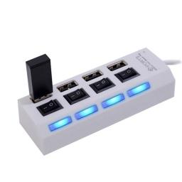 HUB MULTIPLICADOR 4 PUERTOS USB 2.0 CON INTERRUPTOR INDEPENDIENTE BLANCO