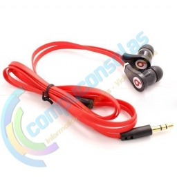 AURICULARES STEREO CABLE PLANO ROJO