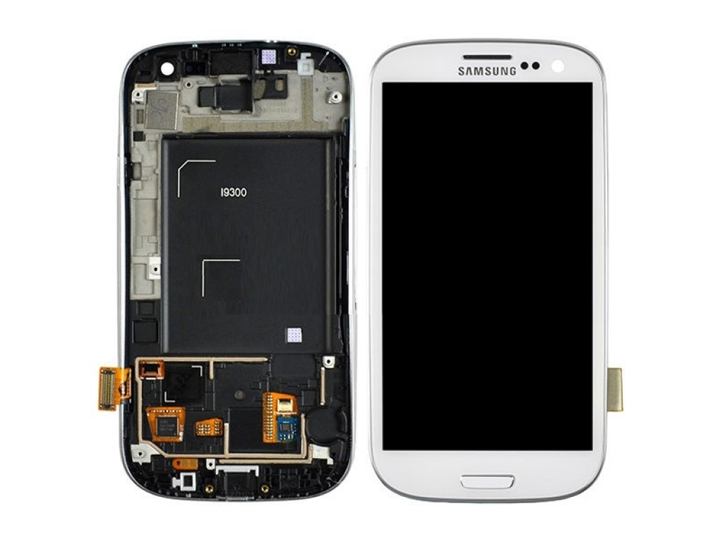 PANTALLA LCD DISPLAY Y TOUCH SAMSUNG I9300 GALAXY S3 BLANCO CON MARCO