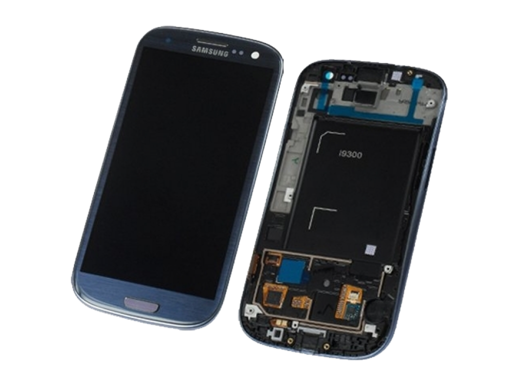 PANTALLA LCD DISPLAY Y TOUCH SAMSUNG i9300 GALAXY S3 AZUL CON MARCO