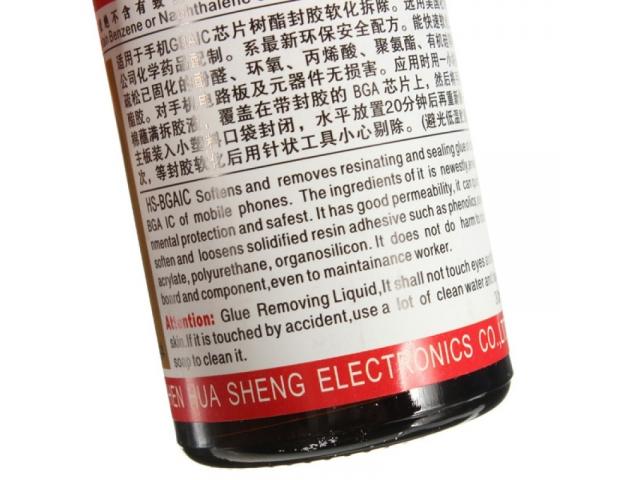 Liquido limpiador para remover la resina epoxi del los chips bga.  Muy facil de usar e increiblemente eficiente.