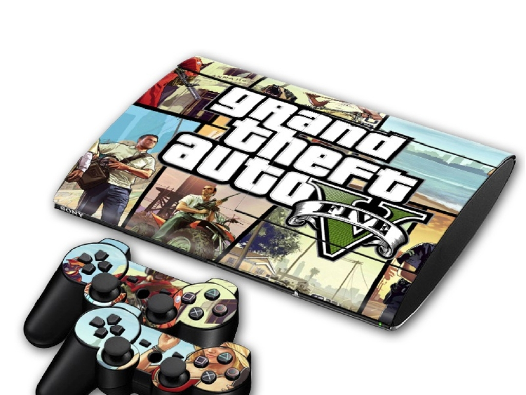 VINILO SKIN ADHESIVO PEGOTIN PERSONALIZAR PLAYSTATION 3 SUPER SLIM GTA 5