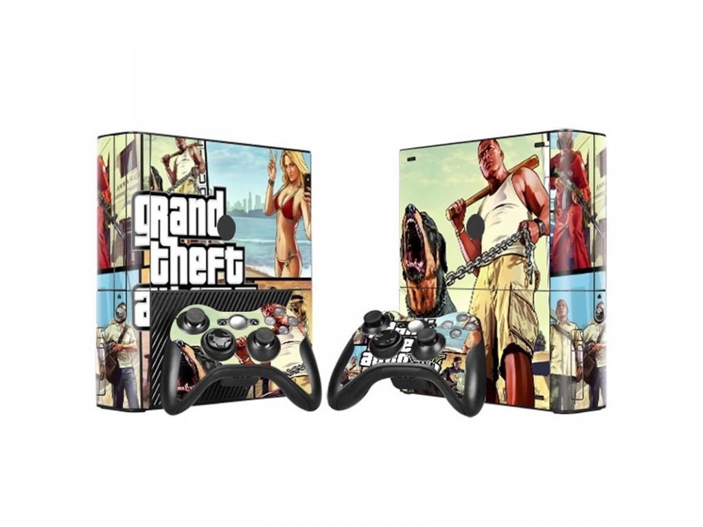 "VINILO SKIN ADHESIVO PEGOTIN PERSONALIZAR XBOX360 Slim ""E"" GTA 5"
